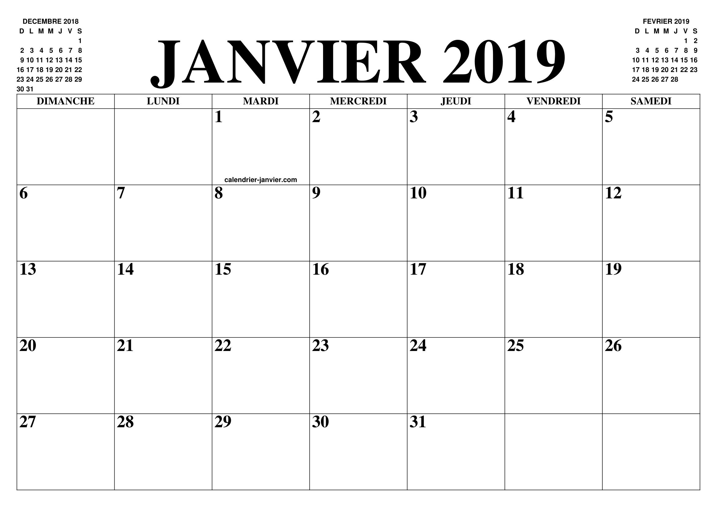 Calendrier 2019 Mois Par Mois A Imprimer.Calendrier Janvier 2019 2020 Le Calendrier Du Mois De