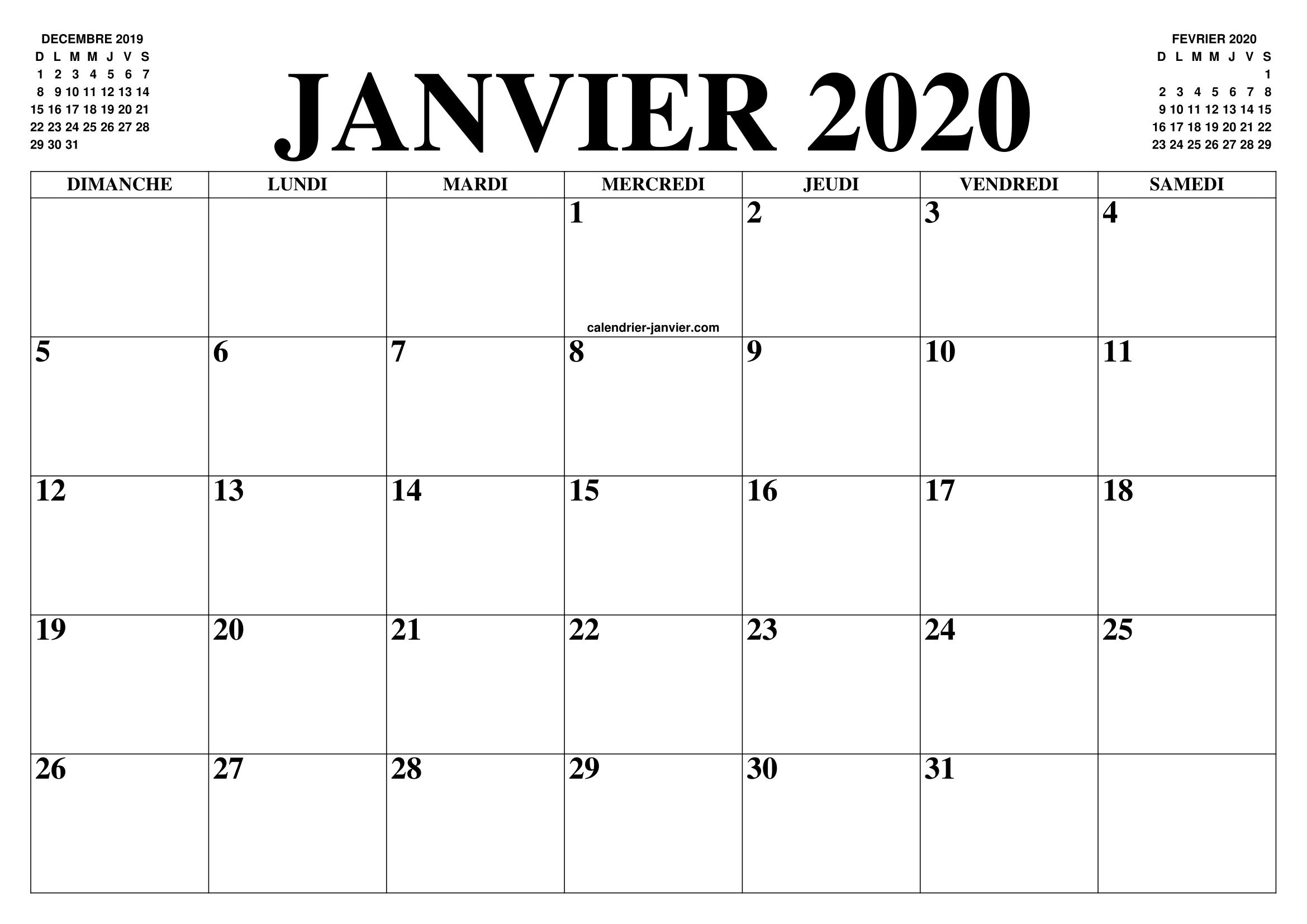 Calendrier Gratuit 2020 A Imprimer.Calendrier Janvier 2020 Le Calendrier Du Mois De Janvier