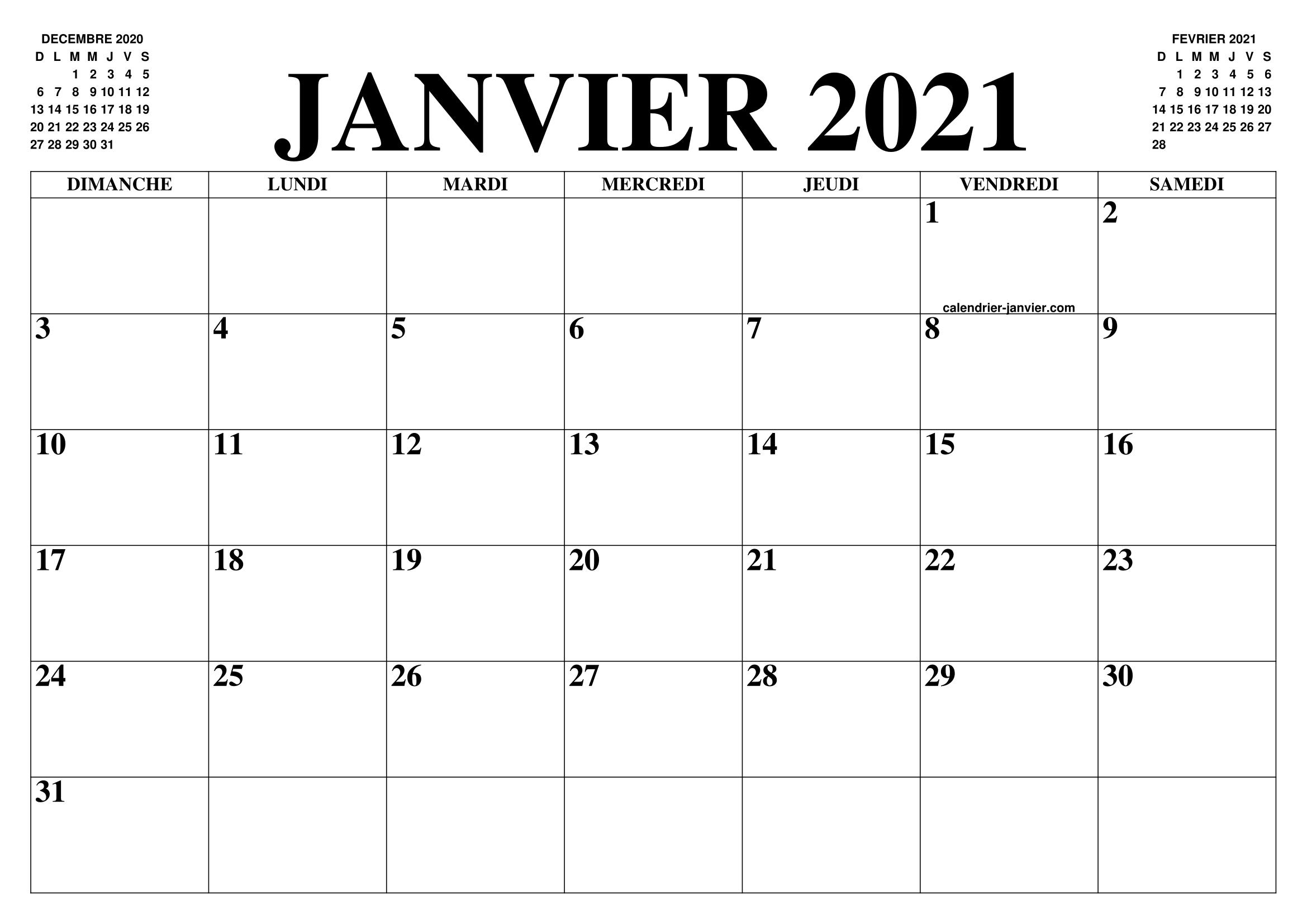 Calendrier 2021 Gratuit.Calendrier Janvier 2021 Le Calendrier Du Mois De Janvier
