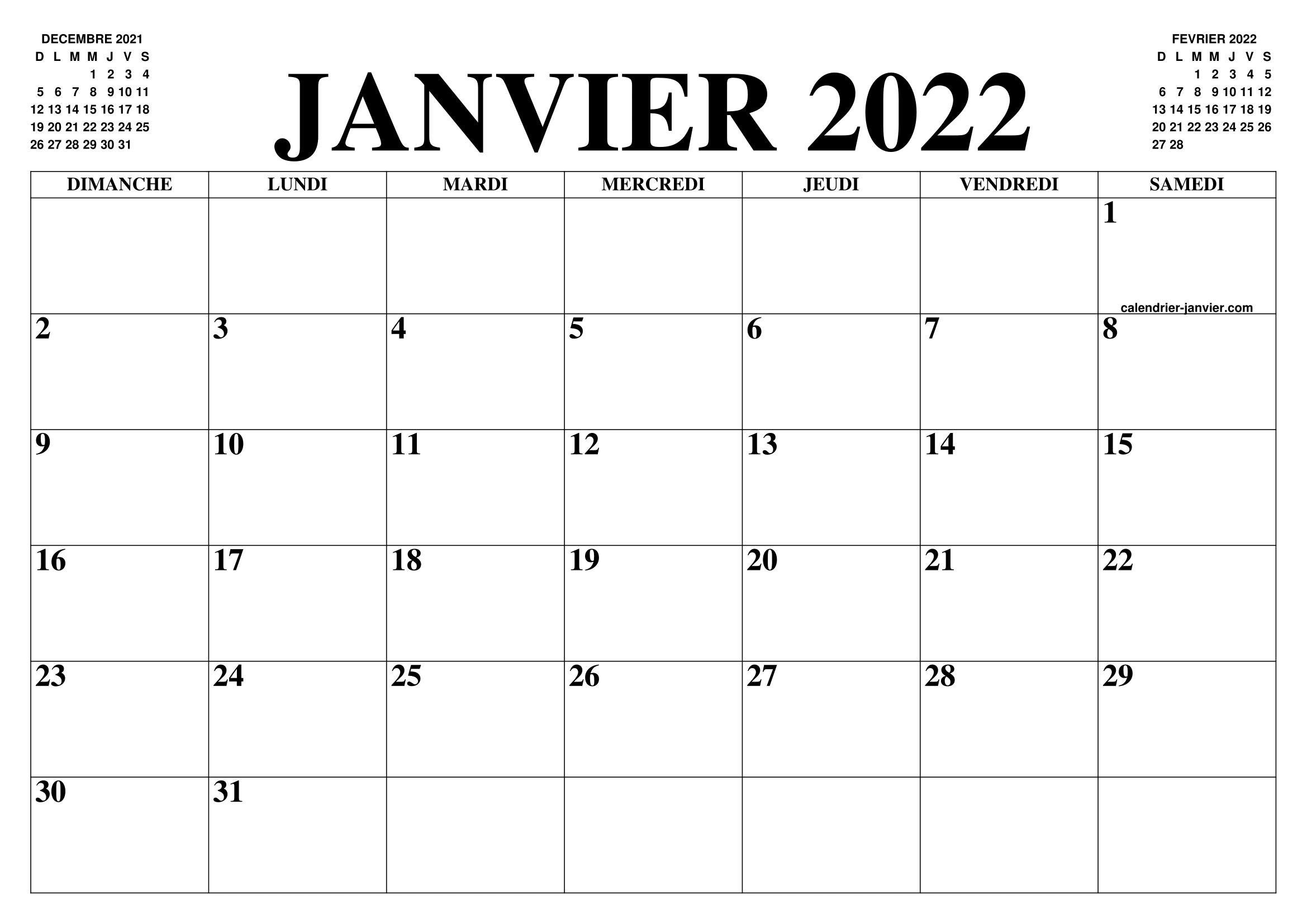 CALENDRIER JANVIER 2022 : LE CALENDRIER DU MOIS DE JANVIER GRATUIT